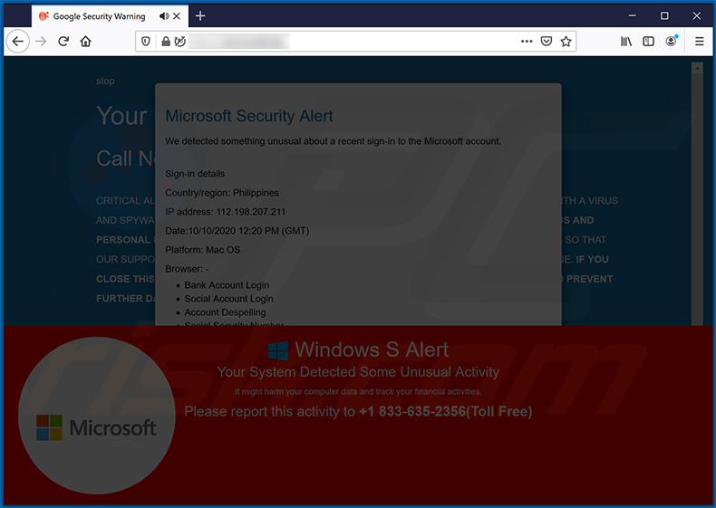 Microsoft Security Alert pop-up scam (2020-11-10)