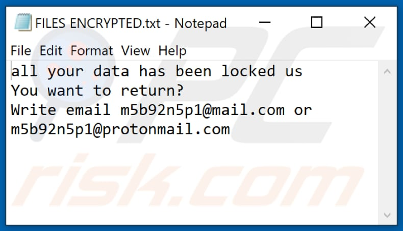 Sss ransomware text file (FILES ENCRYPTED.txt)