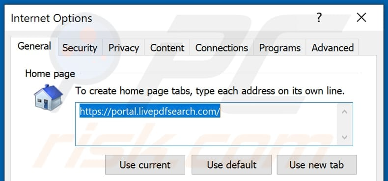 Removing livepdfsearch.com from Internet Explorer homepage