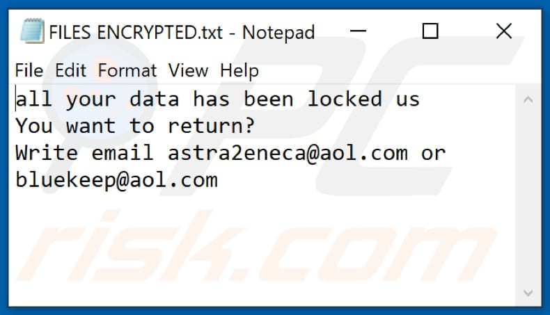 Aol Ransomware Textdatei (FILES ENCRYPTED.txt)