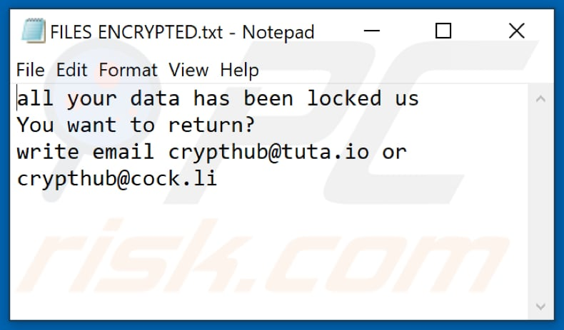Hub Ransomware Textdatei (FILES ENCRYPTED.txt)