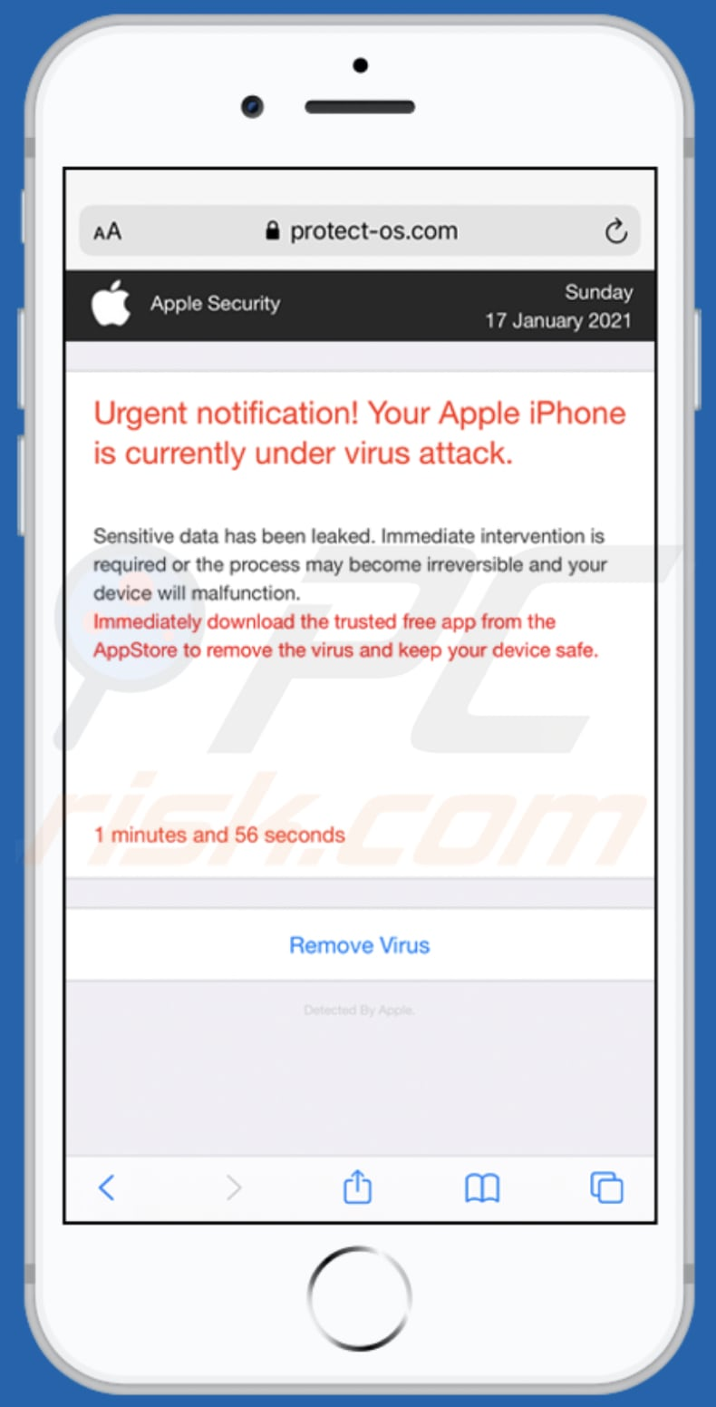 Der Your Apple iPhone is currently under virus attack Betrug